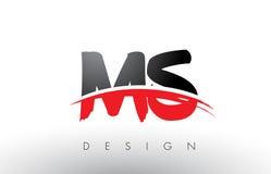 Milliseconde M S Brush Logo Letters avec l'avant de brosse de bruissement de rouge et de noir Image stock