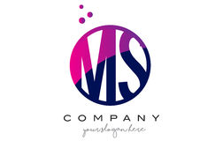Milliseconde M S Circle Letter Logo Design avec Dots Bubbles pourpre Photos libres de droits