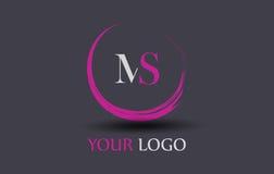 Milliseconde M S Letter Logo Design Image libre de droits