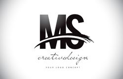 Milliseconde M S Letter Logo Design avec le bruissement et course noire de brosse Photos libres de droits