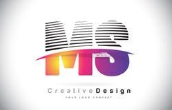 Milliseconde M S Letter Logo Design With Creative Lines et Swosh dans Purpl Images stock