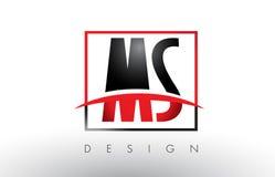 Milliseconde M S Logo Letters avec des couleurs et le bruissement rouges et noirs Illustration Libre de Droits