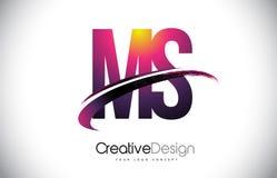 Milliseconde M S Purple Letter Logo avec la conception de bruissement Magenta créatif M Images libres de droits