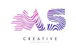 Milliseconde M S Zebra Lines Letter Logo Design avec des couleurs magenta Image stock