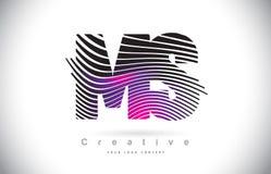 Milliseconde M S Zebra Texture Letter Logo Design With Creative Lines et Image libre de droits