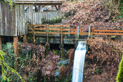 Millrace  in old grist mill,Washington,usa. Royalty Free Stock Photo