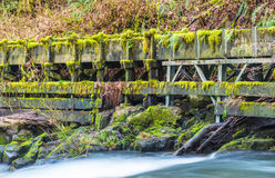 Millrace  in old grist mill,Washington,usa. Royalty Free Stock Images