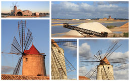 Mills. The windmills of the Trapani salt flats Royalty Free Stock Images