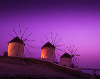 Mills on the Greek island Royalty Free Stock Images