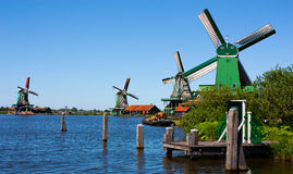 Mills in Holland. Traditional and direct landmark of the country Royalty Free Stock Images