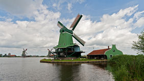 Mills in Holland. A mill with house in the neighbourhood of Zaandam Royalty Free Stock Photo