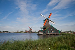 Mills in Holland. Mill and  houses in the neighbourhood of Zaandam Stock Photography