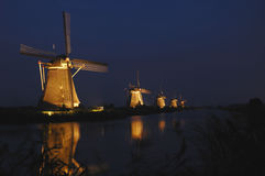 Mills of Kinderdijk in floodlight Royalty Free Stock Photos