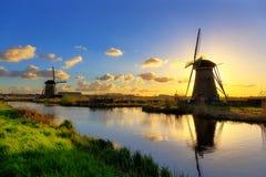 Mills of Kinderdijk near Rotterdam Stock Images