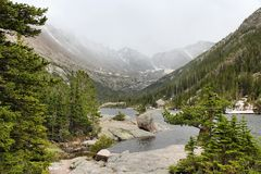 Mills Lake. With misty Rocky Mountains in background. Landscape in Colorado Royalty Free Stock Image