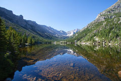 Mills Lake in Rocky Mountains Stock Images