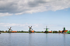 Mills lanscape at Zaanse Schans. Netherlands royalty free stock images