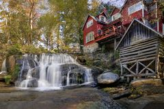 Mill Shoals Falls. Mills Shoals Falls in North Carolina. Located behind the Living Waters Ministry. Mill Shoals Falls, adjacent to the old Balsam Mill royalty free stock images