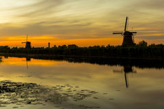 Mills at sunset in Kinderdijk, Netherlands Royalty Free Stock Photography