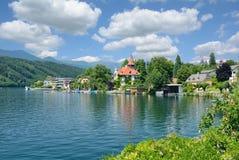 Millstatt am See,Lake Millstatt,Carinthia,Austria. The idyllic Village of Millstatt am See at Lake Millstatt,Carinthia,Austria stock photo