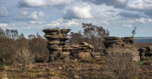 Millstone erosion at Brimham Rocks. Brimham Rocks is an amazing collection of , Millstone Grit, natural rock formations located in North Yorkshire Stock Photo