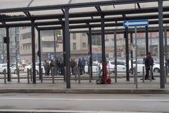 Milán, Italia - 20 de febrero de 2017: Taxistas italianos en huelga Foto de archivo