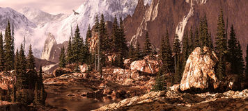 Milner Pass / Rockies. Falcon soaring above a Rocky Mountain canyon pass royalty free illustration