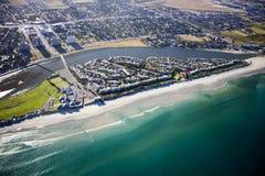 Milnerton海滩和盐水湖天线 免版税库存照片