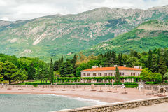 Milocer beach and hotel, Montenegro. Beach and luxury hotel, at Milocer in Montenegro Stock Images