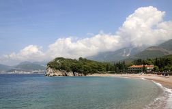 Milocer, Budva Riviera, Montenegro.Queen`s beach and the park. Milocer rests in the heart of the Montenegrin Riviera, between the booming extravagance that is Stock Images