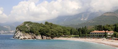 Milocer, Budva Riviera, Montenegro.Queen`s beach and the park stock photo