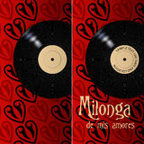 Milonga poster and flyer. Milongas need invitations and Posters and this is a template for your Milonga. The vinyl record indicates Tango tradicional but feel Royalty Free Stock Images