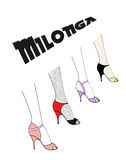 Milonga poster. Hand drawn argentine tango milonga poster with women legs in dancing shoes, with text.  objects, vector. Design concept for milonga invitation Royalty Free Stock Photos
