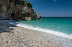 Milopotamos beach in Greece. Rocky cliffs and clear turquoise sea stock photography