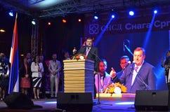 Milorad Dodik talar fans i gräns efter möte och folkomröstning Arkivfoton