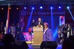 Milorad Dodik talar fans i gräns efter möte och folkomröstning Royaltyfria Foton