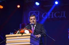 Milorad Dodik talar fans i gräns efter möte och folkomröstning Royaltyfria Bilder