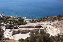 Milos - Ancient roman Theatre  above Klima village, Cyclades islands Royalty Free Stock Images