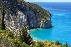 Milos beach at the island of Lefkada Royalty Free Stock Images