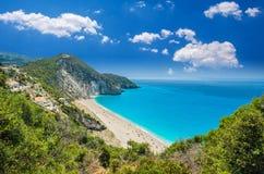 Milos beach on Lefkada island, Greece. Milos beach near the Agios Nikitas village on Lefkada, Greece Royalty Free Stock Images