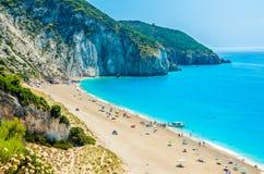 Milos beach on Lefkada island, Greece. Milos beach near the Agios Nikitas village on Lefkada, Greece Stock Photos