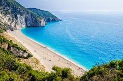 Milos beach on Lefkada island, Greece. Royalty Free Stock Photos
