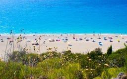 Milos Beach-mening van hierboven, Lefkada, Griekenland Royalty-vrije Stock Foto