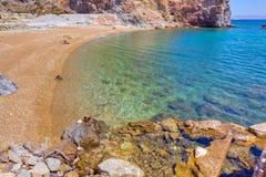 milos för den strandgreece ön bryter svavel Arkivbild