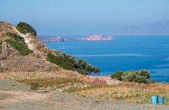 Milos, Greece, small field and sea view Stock Photo