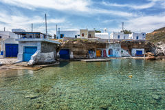Milos island - Cyclades, traditional fishing village Royalty Free Stock Photo