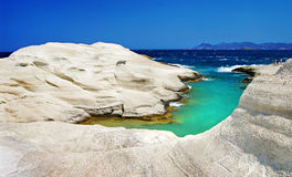 Milos island - Greece. Sarakiniko beach in beautiful island of Milos, Greece Royalty Free Stock Photo