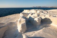 Milos island Greece detail of Sarakiniko Beach in summer time. Milos island Greece , detail of Sarakiniko Beach in summer time ,grayish-white volcanic rock stock photos