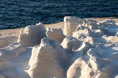 Milos island Greece detail of Sarakiniko Beach in summer time. Milos island Greece , detail of Sarakiniko Beach in summer time ,grayish-white volcanic rock stock photo