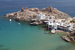 Milos island in Greece. Traditional fishing village of Firopotamos at Milos island in Greece Stock Images